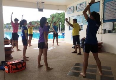 ๓๑ พ.ค.๖๒ นักกีฬาปัญจกีฬาฝึกซ้อมว่ายน้ำ