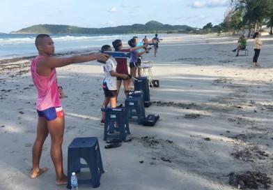 ๑๐ มิ.ย.๖๒ นักกีฬาปัญจกีฬาฝึกซ้อม Laser-Run ณ หาดน้ำใส