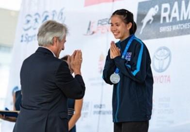 เยาวชนหญิงไทยได้รับเหรียญเงินการแข่งขันรายการ Laser Run เมื่อวันที่ 6 ก.ย.62